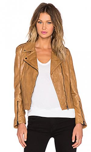 Кожаная куртка joanna LaMarque. Цвет: цвет загара