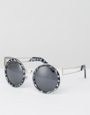 AJ Morgan Круглые солнцезащитные очки с планкой сверху АJ. Цвет: серый