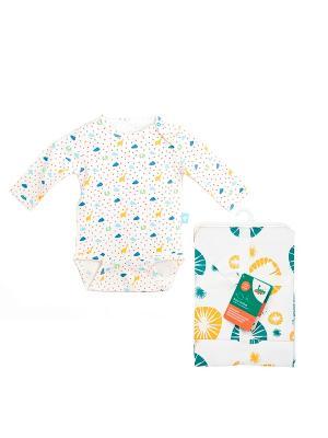 Комплект Боди с длинным рукавом, 1 шт.+ Салфетки для кормления, 2 шт. HappyBabyDays. Цвет: голубой, желтый