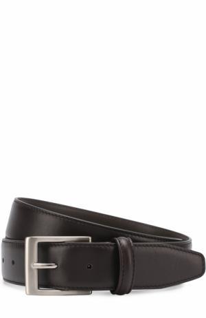 Кожаный ремень с металлической пряжкой Canali. Цвет: темно-коричневый