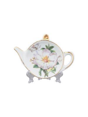Подставка под чайный пакетик Белый шиповник Elan Gallery. Цвет: белый, зеленый
