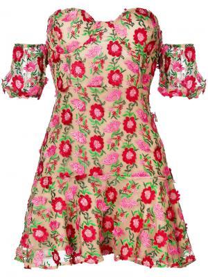 Off-the-shoulder mini dress For Love And Lemons. Цвет: многоцветный
