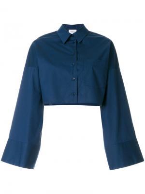 Укороченная рубашка с расклешенными рукавами Dondup. Цвет: синий