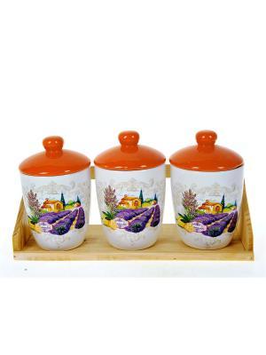 Набор банок для сыпучих продуктов Прованс, Polystar. Цвет: оранжевый