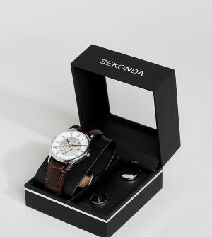 Sekonda Подарочный набор из часов с кожаным ремешком и запонок. Цвет: коричневый