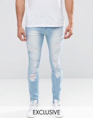 Always Rare Рваные суперзауженные джинсы из стираного денима. Цвет: синий