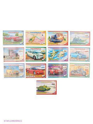 Комплект раскраски для мальчиков с наклейками №1 (13 видов) Издательство Хатбер-пресс. Цвет: белый