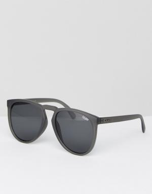 Quay Australia Серые круглые солнцезащитные очки. Цвет: серый