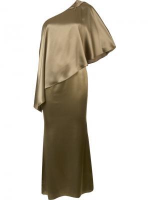 Длинное платье Isabella Zac Posen. Цвет: зелёный