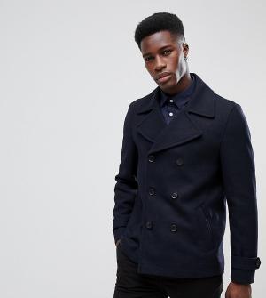 Burton Menswear Темно-синее пальто-бушлат. Цвет: темно-синий