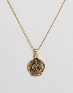 Seven London Ожерелье с подвеской в виде Будды. Цвет: золотой