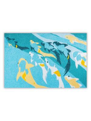 Коврик Рыбы Empire. Цвет: морская волна, светло-оранжевый, серо-голубой