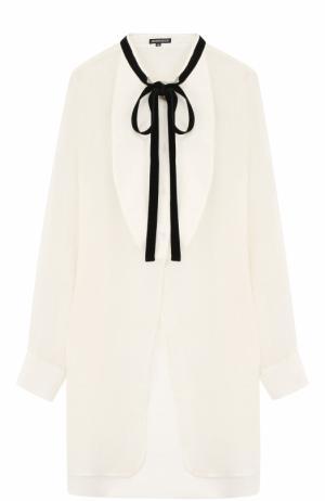 Удлиненная блуза свободного кроя из смеси шерсти и льна Ann Demeulemeester. Цвет: кремовый