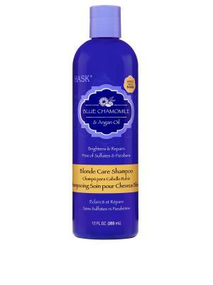 Шампунь с экстрактом голубой ромашки и аргановым маслом для светлых волос HASK. Цвет: голубой