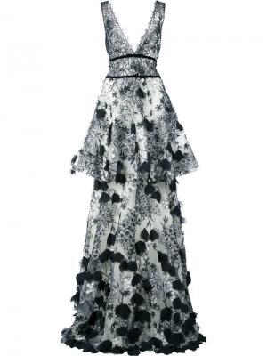 Платье макси с вышивкой Marchesa Notte. Цвет: чёрный