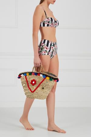 Плетеная сумка-корзинка Sisily Medium Micaela Spadoni. Цвет: multicolor