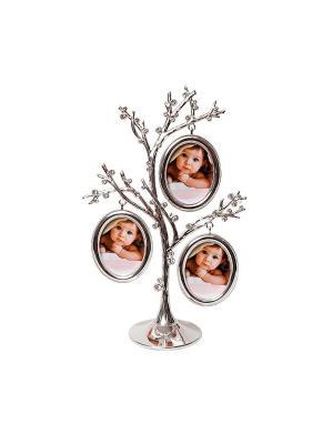 Фоторамка Дерево 3 фото 5х6см PLATINUM quality. Цвет: серебристый