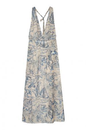 Платье с принтом Adriana Degreas. Цвет: кремовый, голубой