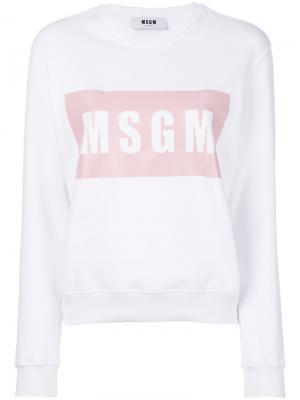 Толстовка с принтом-логотипом MSGM. Цвет: белый