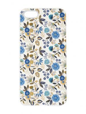 Чехол для iPhone 5/5s Голубые лютики Арт. IP5-243 Chocopony. Цвет: белый, синий, голубой, бежевый