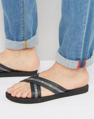 Versace Jeans Черные шлепанцы. Цвет: черный