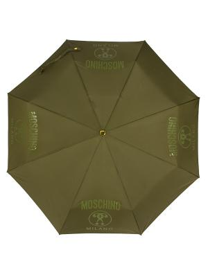 Зонт складной Moschino 8010-OCM Lettering Darkgreen. Цвет: темно-зеленый