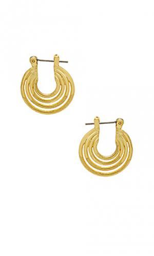 Серьги the multi hoop Luv AJ. Цвет: металлический золотой