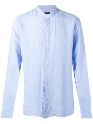 Рубашка с воротником-мандарин Z Zegna. Цвет: синий