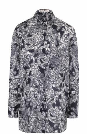 Блуза свободного кроя с принтом Acne Studios. Цвет: синий