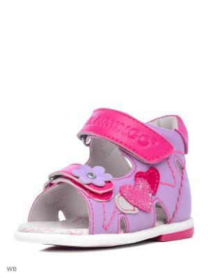 Сандалии Flamingo. Цвет: сиреневый, розовый