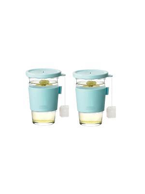 Стаканы Glasslock GL-1364 2*500мл для гор напитков. Цвет: бирюзовый, прозрачный