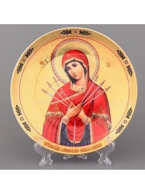 Тарелка декоративная Семистрельная Elan Gallery. Цвет: золотистый, красный