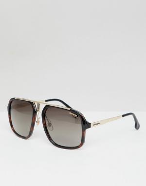 Carrera Солнцезащитные очки-авиаторы в черепаховой оправе. Цвет: коричневый