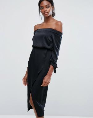 Lavish Alice Платье миди с открытыми плечами и завязками на рукавах. Цвет: черный