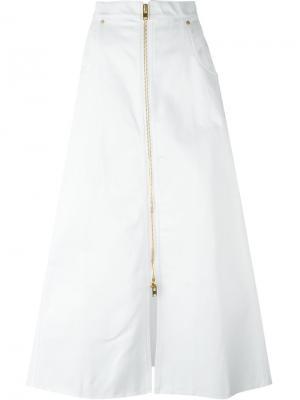 Джинсовая юбка А-образного кроя Natasha Zinko. Цвет: белый