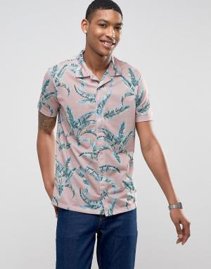 LDN DNM Рубашка с короткими рукавами, отложным воротником и принтом. Цвет: розовый