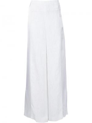Креповые широкие расклешенные брюки Rosetta Getty. Цвет: белый
