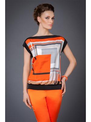 Блузка Арт-Деко. Цвет: оранжевый, черный