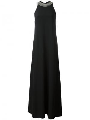 Платье с декорированным воротником Brunello Cucinelli. Цвет: чёрный