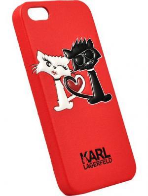 Чехол Lagerfeld для iPhone 5S/SE Choupette in love Hard PU Red Karl. Цвет: красный