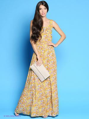 Платье Colambetta. Цвет: желтый, серый, красный