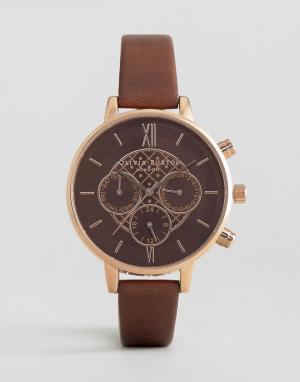 Olivia Burton Часы с коричневым кожаным ремешком и хронографом. Цвет: коричневый