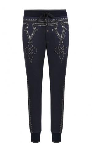 Хлопковые джоггеры с принтом Dolce & Gabbana. Цвет: синий