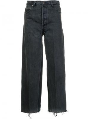 Укороченные широкие джинсы Re/Done. Цвет: чёрный