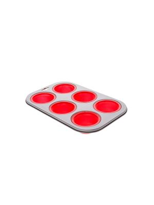 Форма для запекания кексов Floret Plus Elff Ceramics. Цвет: красный