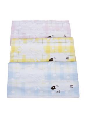 Набор из 3х полотенец Барашки 35*35 см. Dream time. Цвет: бледно-розовый, желтый, светло-серый