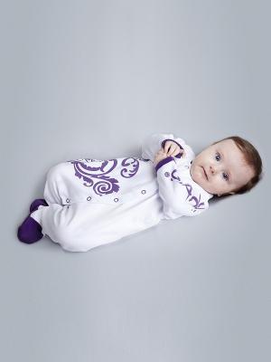 Комбинезон ЕМАЕ. Цвет: белый, фиолетовый