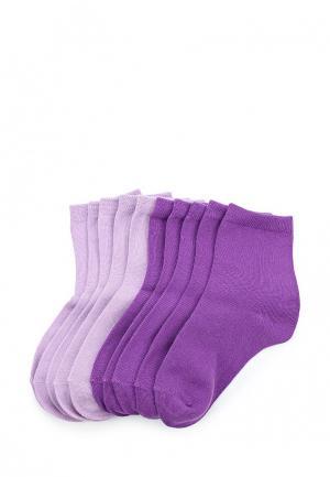 Комплект носков 10 пар oodji. Цвет: фиолетовый