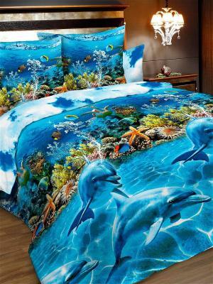 Комплект постельного белья, евро, бязь, пододеяльник на молнии Letto. Цвет: голубой, синий
