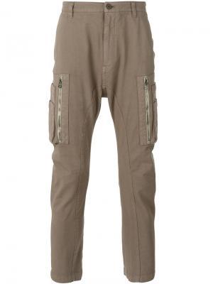 Зауженные брюки с карманами карго Helmut Lang. Цвет: телесный